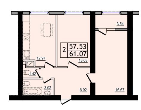 Двухкомнатная - ЖК 47 Жемчужина$36642Площадь:61,07m²