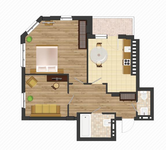 Двухкомнатная - ЖК Золотая Эра$38332Площадь:62,87 m²