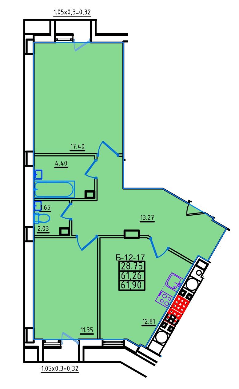 Двухкомнатная - ЖК КонтинентПроданаПлощадь:62,4m²