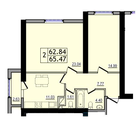 Двухкомнатная - ЖК 47 Жемчужина$39282Площадь:65,47m²