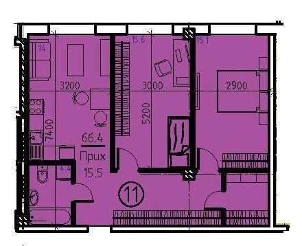 Двухкомнатная - ЖК Клубный дом Бецалель (Bezalel)ПроданаПлощадь:65,9m²
