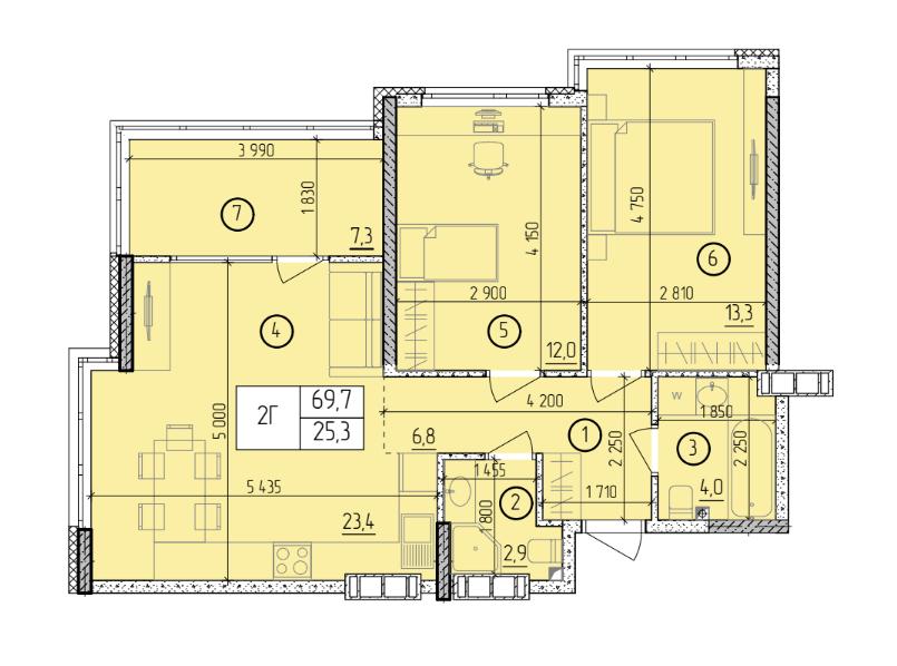 Двухкомнатная - ЖК Manhattan (Манхэттен / Манхеттен)$50012Площадь:69,7m²
