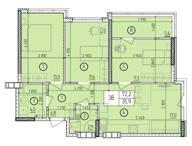 Трехкомнатная - ЖК Manhattan (Манхэттен / Манхеттен)$53069Площадь:72,2m²