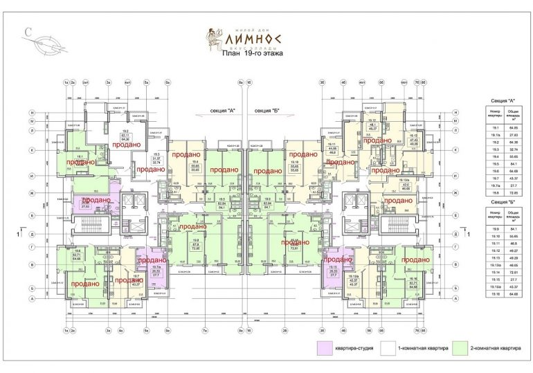 ЖК Лимнос план 19-го этажа