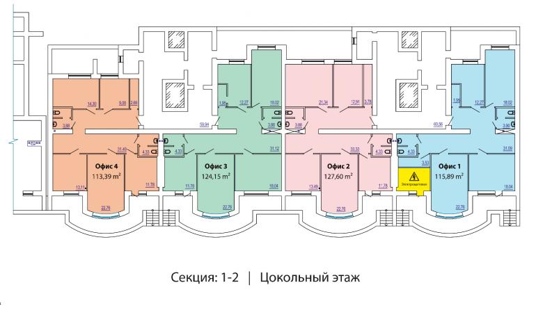 ЖК Победа 1-2 секции план цокольного этажа