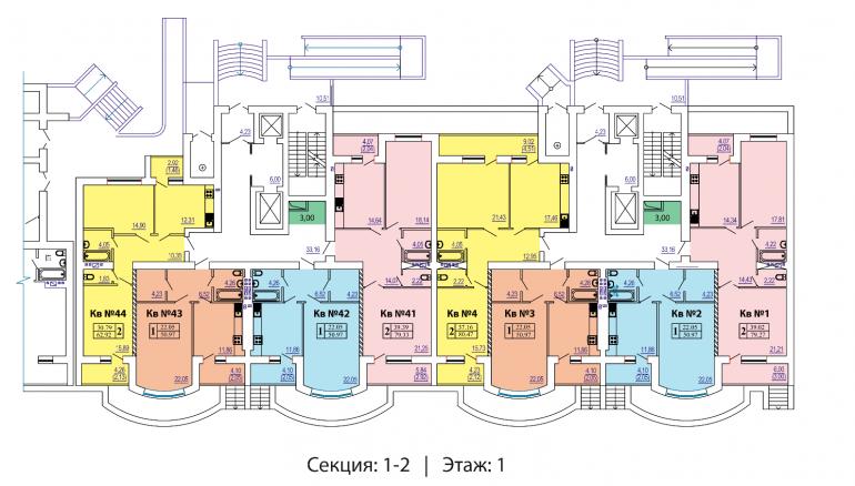 ЖК Победа 1-2 секции план 1-го этажа