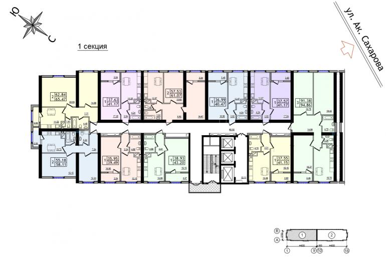 ЖК 47 Жемчужина план 2-25 этажа 1 секция