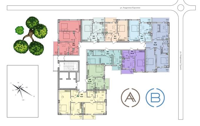 ЖК Восход план типового этажа
