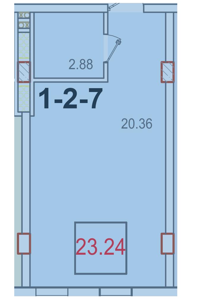 Однокомнатная - ЖК Smart (Смарт)$19500Площадь:23,24m²
