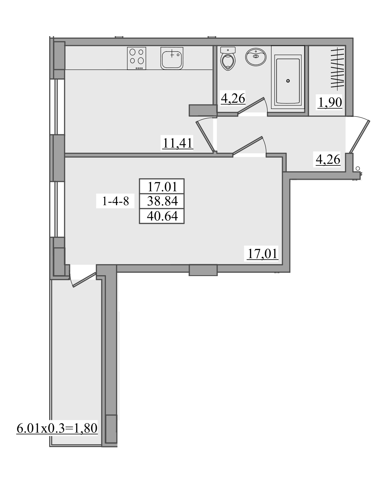 Однокомнатная - ЖК Платинум Резиденс Platinum Residence$39827Площадь:40,64m²