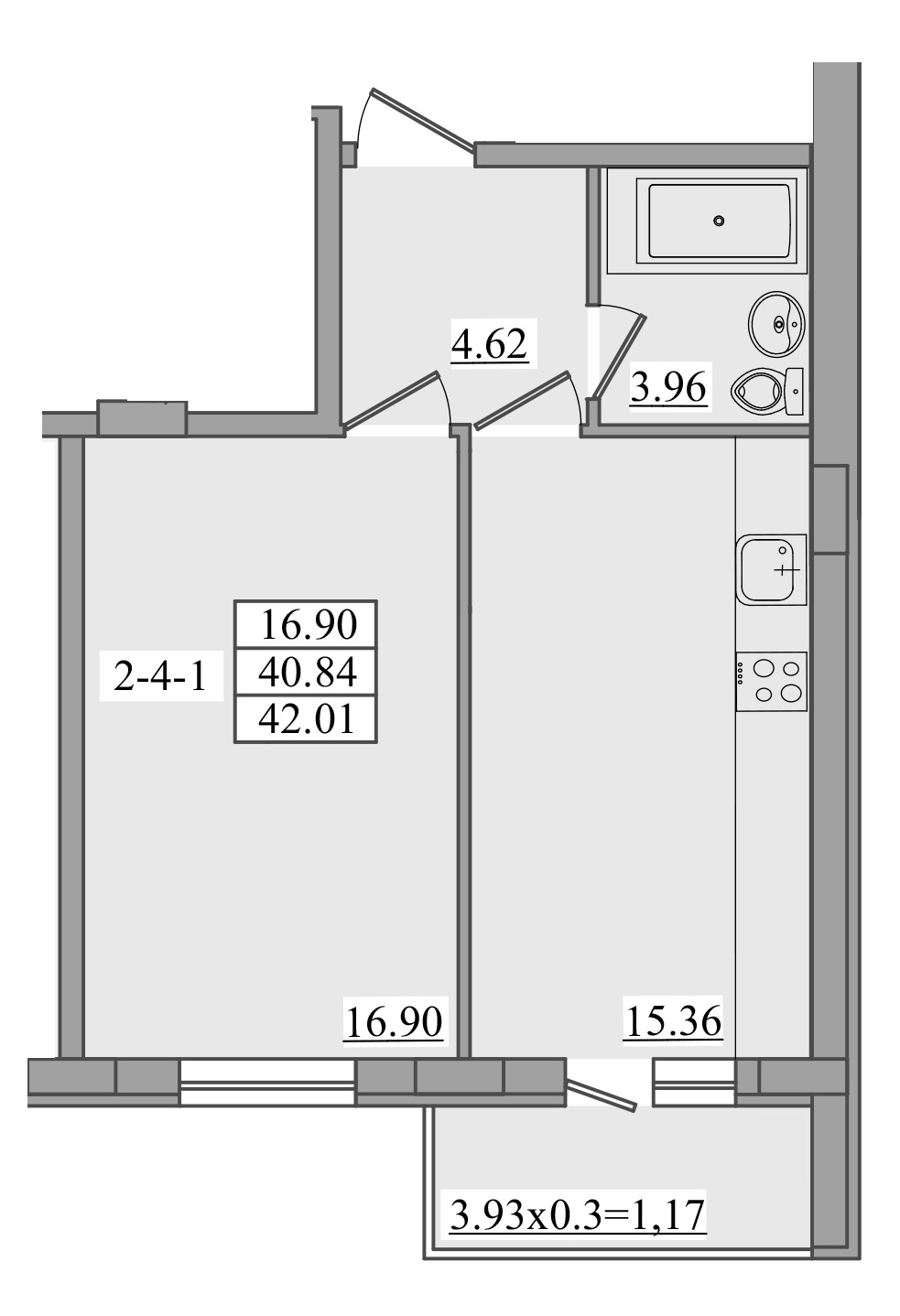 Однокомнатная - ЖК Платинум Резиденс Platinum Residence$40750Площадь:42,01m²