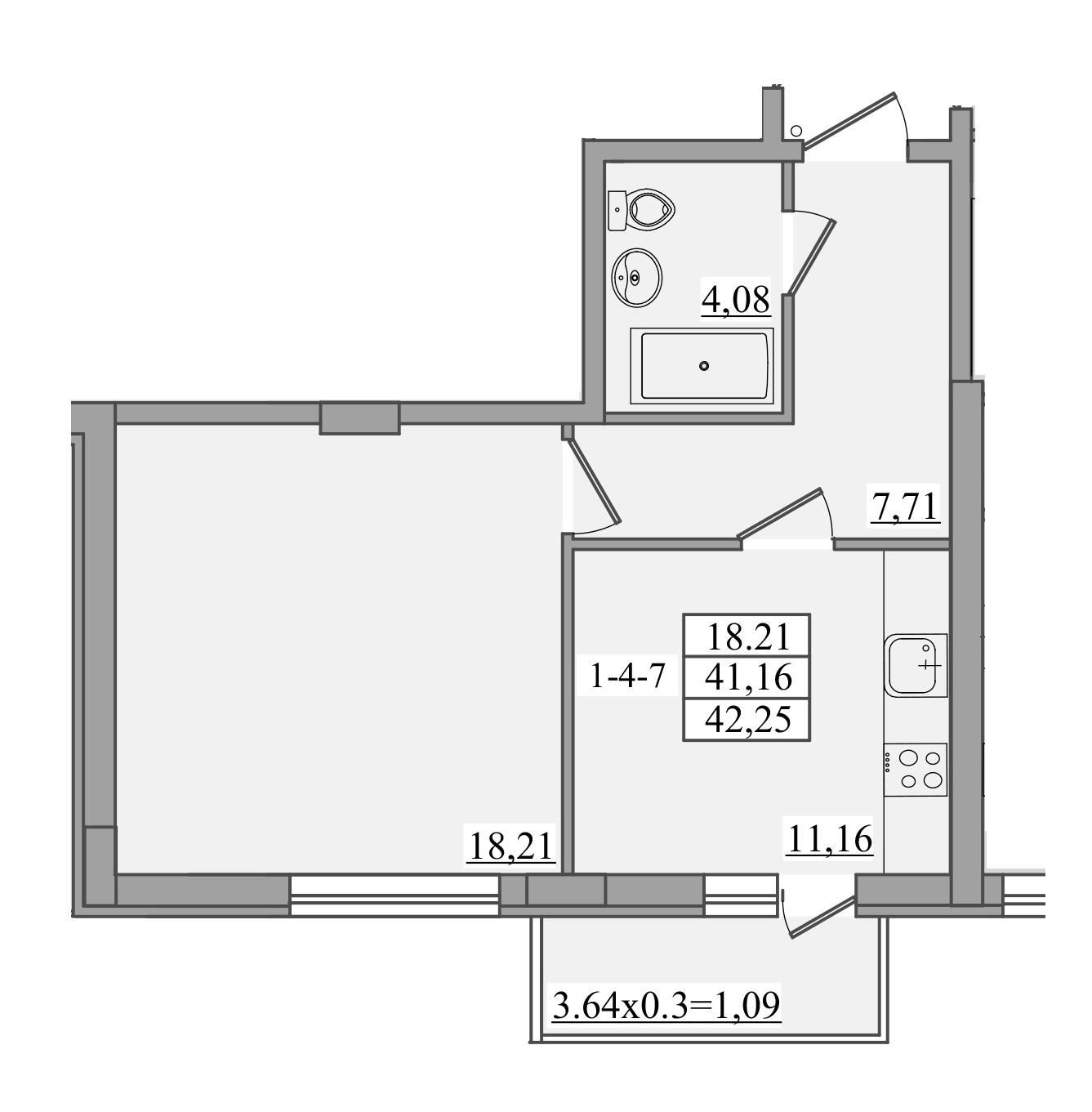 Однокомнатная - ЖК Платинум Резиденс Platinum Residence$39715Площадь:42,25m²