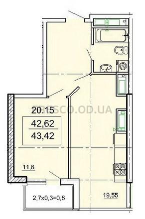 Однокомнатная - ЖК ЛимносПроданаПлощадь:43,42m²