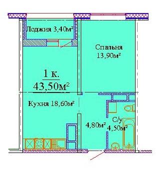 Однокомнатная - ЖК Скай сити (Sky City)$29762Площадь:43,5m²