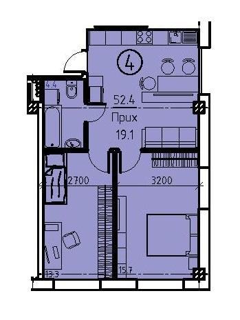 Однокомнатная - ЖК Клубный дом Бецалель (Bezalel)ПроданаПлощадь:52,9m²