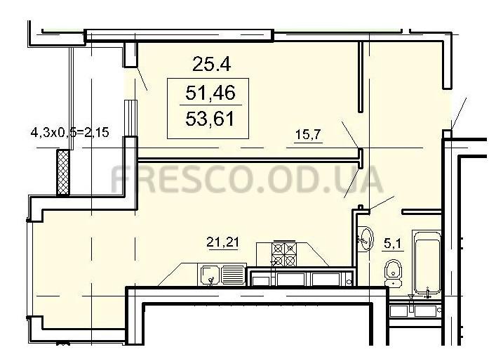 Однокомнатная - ЖК Лимнос$61652Площадь:53,61m²