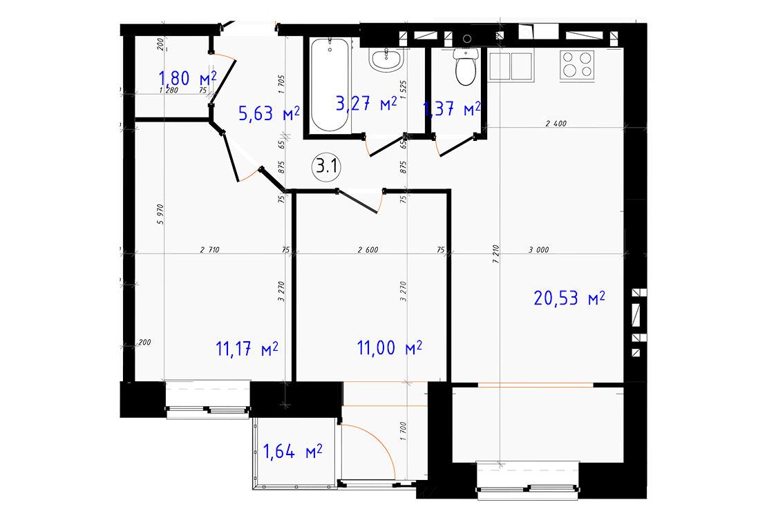 Двухкомнатная - ЖК ЧайкаПроданаПлощадь:56,41m²
