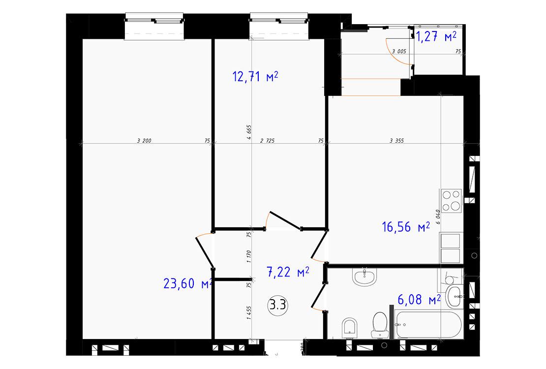 Двухкомнатная - ЖК Чайка$35963Площадь:67,44m²