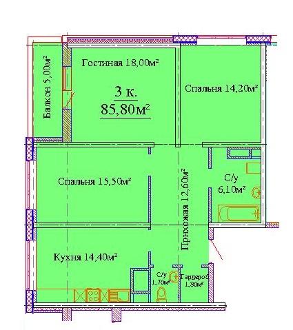 Трехкомнатная - ЖК Скай сити (Sky City)$55755Площадь:85,8m²