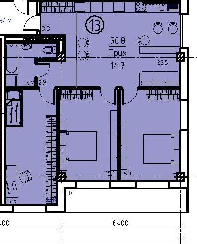 Трехкомнатная - ЖК Клубный дом Бецалель (Bezalel)ПроданаПлощадь:90,8m²