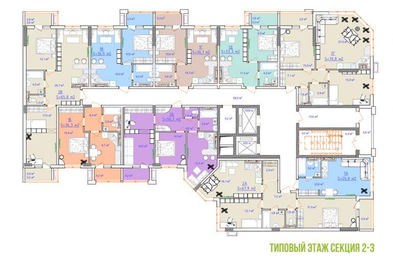 ЖК Таировские сады план этажа 3 секция 2ПК