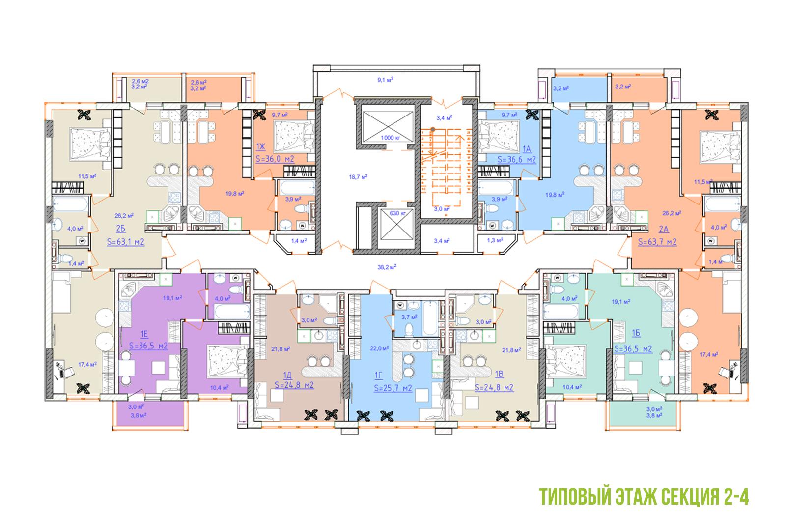 ЖК Таировские сады план этажа 4 секция 2ПК