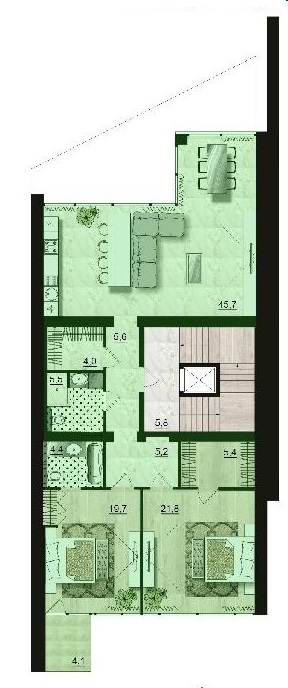 Двухкомнатная - ЖК Санта Бэй (Santa Bay)$124425Площадь:118,5m²