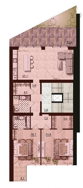 110,2 ЖК Санта Бэй (Santa Bay) квартира на 2-м этаже