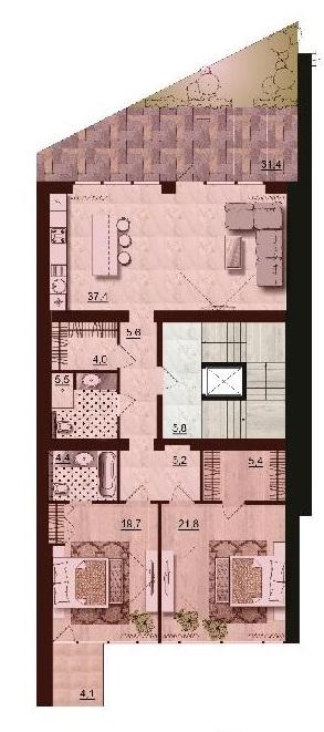 Двухкомнатная - ЖК Санта Бэй (Santa Bay)$115710Площадь:110,2m²