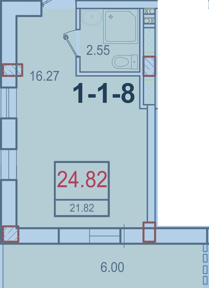 Однокомнатная - ЖК Smart (Смарт)$25000Площадь:21,82m²