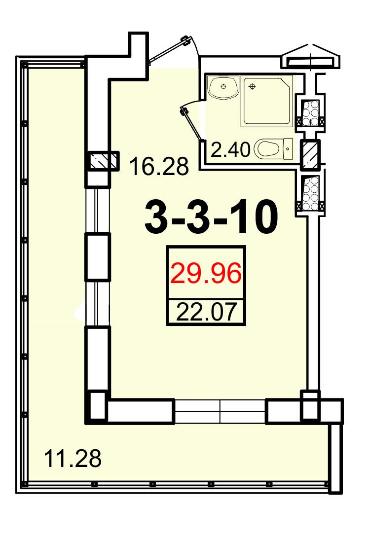 Однокомнатная - ЖК Smart (Смарт)ПроданаПлощадь:22,07m²