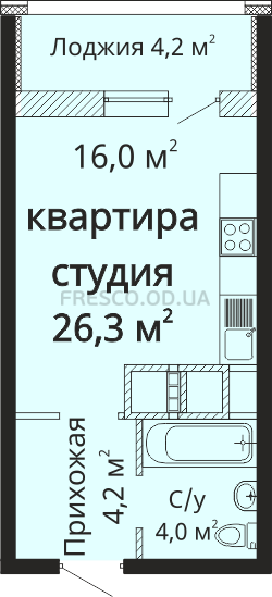 Однокомнатная - ЖК Скай сити (Sky City)$25017Площадь:26,3m²
