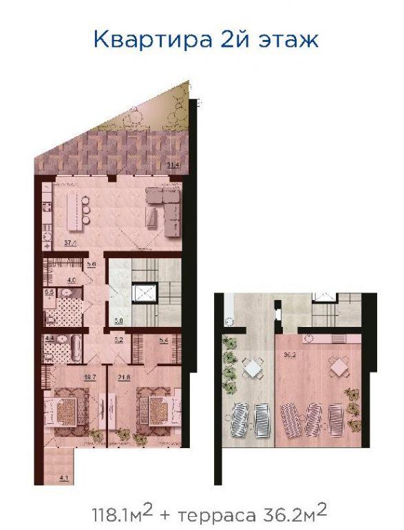 ЖК Санта Бэй (Santa Bay) квартира на 2-м этаже