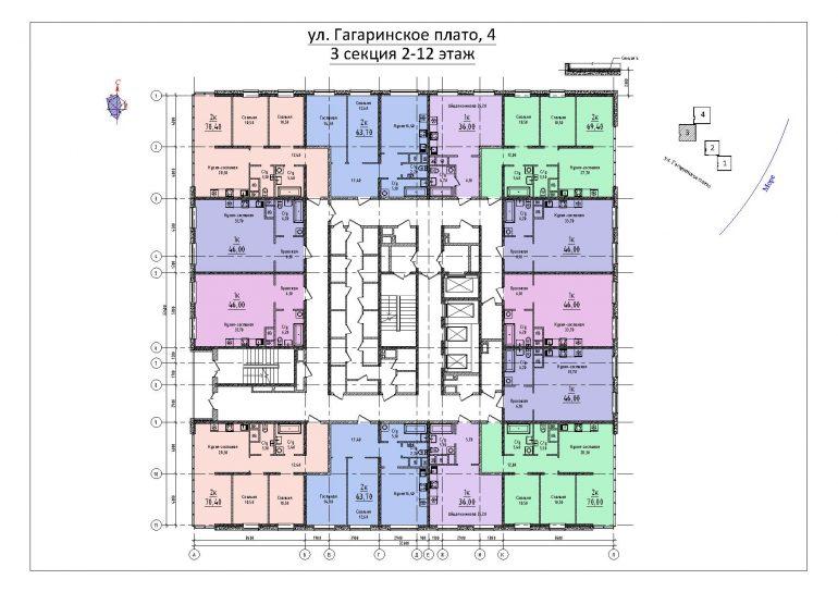 ЖК Sea View (Си Вью) Будова 3 секция план 2-12 этажа