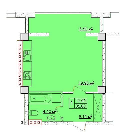 Однокомнатная - ЖК Клаб Марин (Club Marine)$28480Площадь:35,6m²
