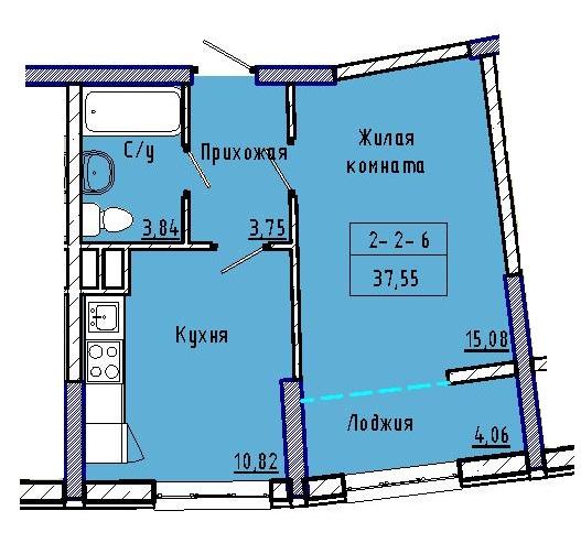 Однокомнатная - 48 ЖемчужинаПроданаПлощадь:37,23m²