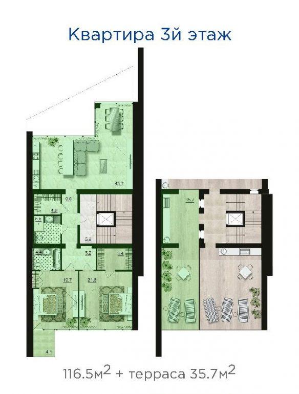 ЖК Санта Бэй (Santa Bay) квартира на 3-м этаже