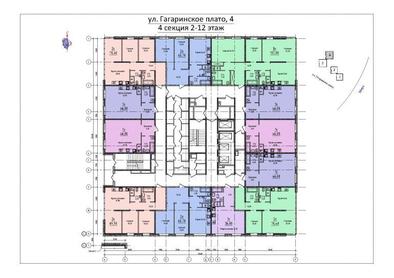 ЖК Sea View (Си Вью) Будова 4 секция план 2-12 этажа