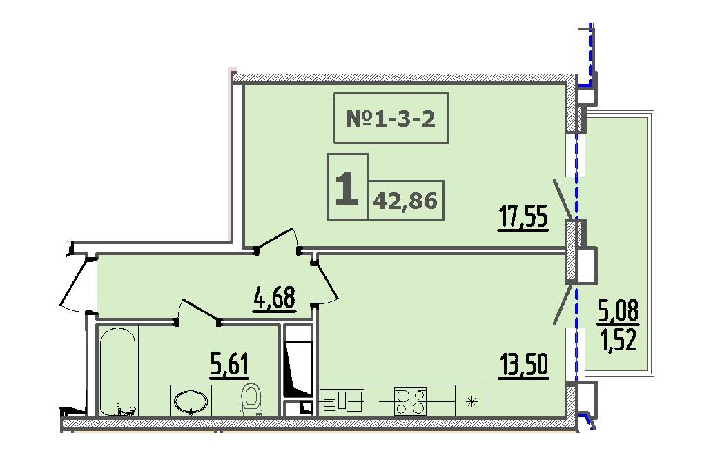 Однокомнатная - 50 ЖемчужинаПроданаПлощадь:42,86m²