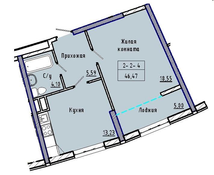 Однокомнатная - 48 ЖемчужинаПроданаПлощадь:46,56m²