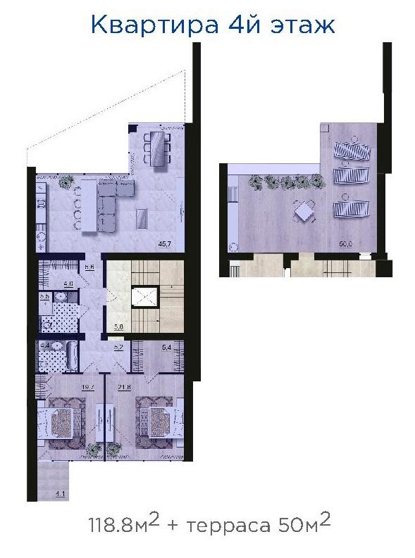 ЖК Санта Бэй (Santa Bay) квартира на 4-м этаже