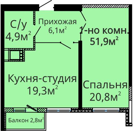 Однокомнатная - ЖК Альтаир-2$44880Площадь:51m²