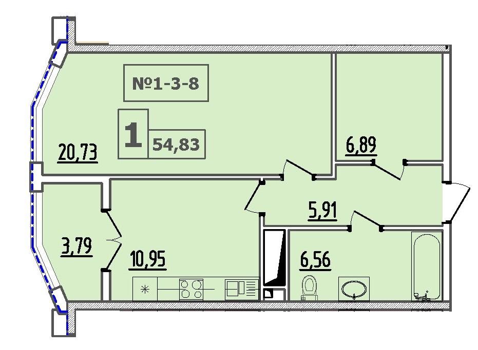Однокомнатная - 50 Жемчужина$68550Площадь:54,84m²