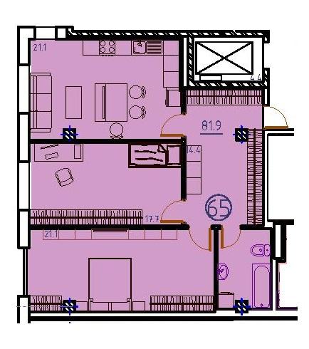 Двухкомнатная - ЖК Клубный дом Бецалель (Bezalel)ПроданаПлощадь:81,8m²