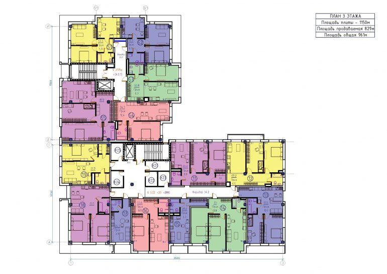 ЖК Бецалель (Bezalel) план 3 этажа