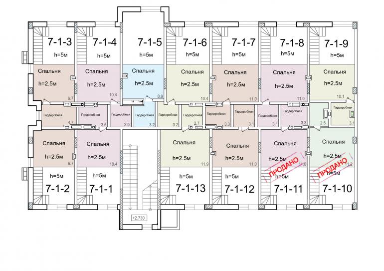 ЖК Смарт Smart 7 секция 1 этаж 2 уровень