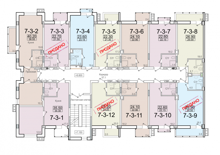 ЖК Смарт Smart 7 секция 3 этаж