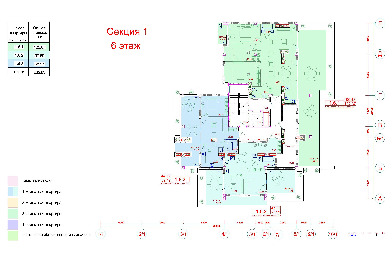 Клубный дом Пространство на Неделина секция 1 план 6 этажа