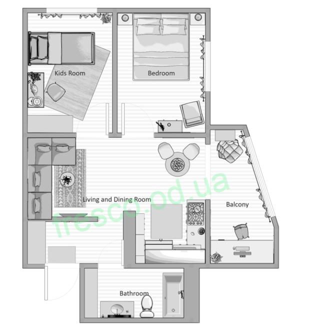 Двухкомнатная - ЖК Удобный$50577Площадь:61,68m²