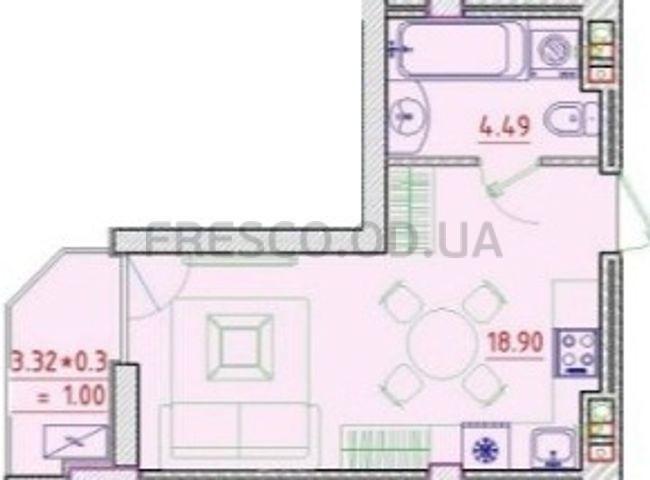 Однокомнатная - Клубный дом Пространство на НеделинаПроданаПлощадь:22,54m²